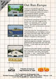Box back cover for Out Run Europa on the Sega Master System.