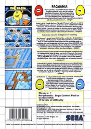 Box back cover for Pac-Mania on the Sega Master System.