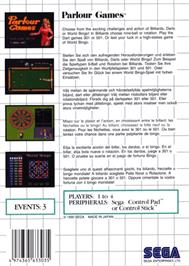 Box back cover for Parlour Games on the Sega Master System.