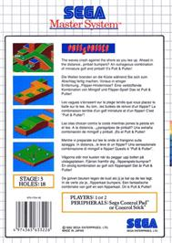 Box back cover for Putt & Putter on the Sega Master System.