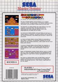 Box back cover for Rainbow Islands: The Story of Bubble Bobble 2 on the Sega Master System.