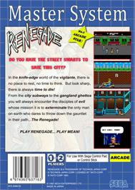 Box back cover for Renegade on the Sega Master System.