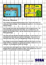 Box back cover for Rescue Mission on the Sega Master System.