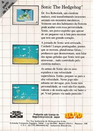 Box back cover for Sonic The Hedgehog on the Sega Master System.