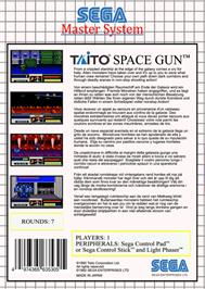 Box back cover for Space Gun on the Sega Master System.