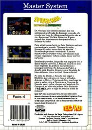 Box back cover for Spider-Man: Return of the Sinister Six on the Sega Master System.