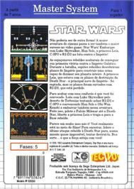 Box back cover for Star Wars on the Sega Master System.