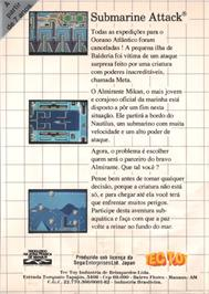 Box back cover for Submarine Attack on the Sega Master System.