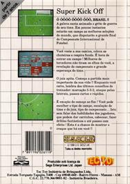 Box back cover for Super Kick Off on the Sega Master System.