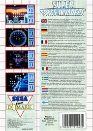 Box back cover for Super Space Invaders on the Sega Master System.