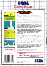 Box back cover for Taz-Mania on the Sega Master System.