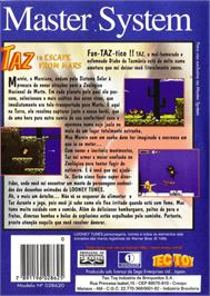 Box back cover for Taz in Escape from Mars on the Sega Master System.
