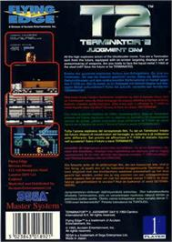 Box back cover for Terminator 2 - Judgment Day on the Sega Master System.