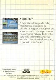 Box back cover for Vigilante on the Sega Master System.