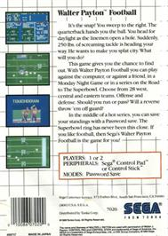 Box back cover for Walter Payton Football on the Sega Master System.