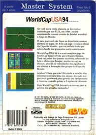 Box back cover for World Cup USA '94 on the Sega Master System.