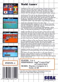 Box back cover for World Games on the Sega Master System.