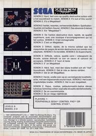 Box back cover for Xenon 2: Megablast on the Sega Master System.