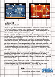Box back cover for Zillion 2: Tri Formation on the Sega Master System.