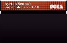 Cartridge artwork for Ayrton Senna's Super Monaco GP 2 on the Sega Master System.