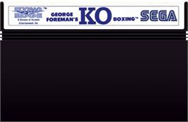 Cartridge artwork for George Foreman's KO Boxing on the Sega Master System.