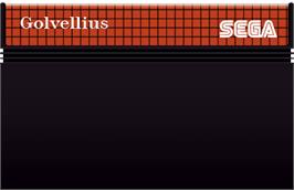 Cartridge artwork for Golvellius: Valley of Doom on the Sega Master System.