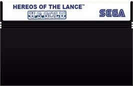 Cartridge artwork for Heroes of the Lance on the Sega Master System.