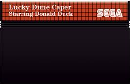 Cartridge artwork for Lucky Dime Caper starring Donald Duck on the Sega Master System.