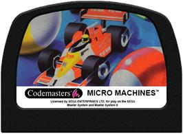 Cartridge artwork for Micro Machines on the Sega Master System.
