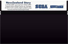 Cartridge artwork for New Zealand Story on the Sega Master System.