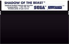 Cartridge artwork for Shadow of the Beast on the Sega Master System.