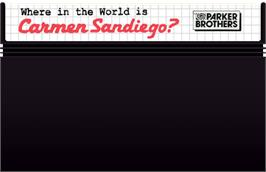 Cartridge artwork for Where in the World is Carmen Sandiego on the Sega Master System.