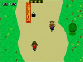 In game image of Alex Kidd: BMX Trial on the Sega Master System.
