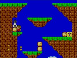In game image of Alex Kidd in Miracle World on the Sega Master System.