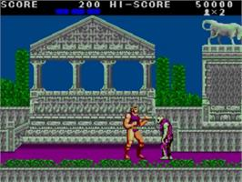 In game image of Altered Beast on the Sega Master System.
