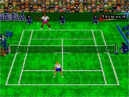 In game image of Andre Agassi Tennis on the Sega Master System.