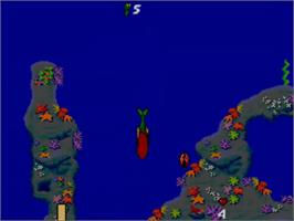 In game image of Ariel the Little Mermaid on the Sega Master System.