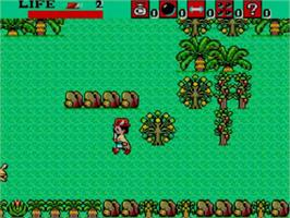 In game image of Aztec Adventure: The Golden Road to Paradise on the Sega Master System.
