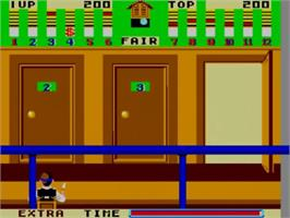 In game image of Bank Panic on the Sega Master System.