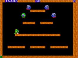 In game image of Bubble Bobble on the Sega Master System.