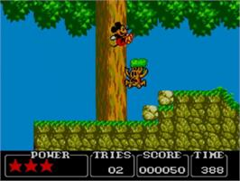 In game image of Castle of Illusion starring Mickey Mouse on the Sega Master System.