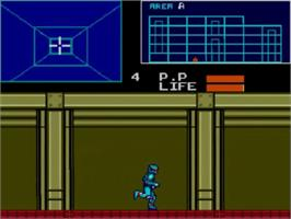 In game image of Cyborg Hunter on the Sega Master System.