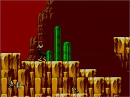 In game image of Daffy Duck in Hollywood on the Sega Master System.