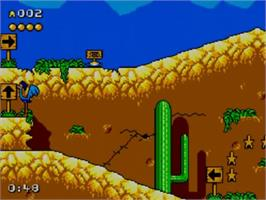 In game image of Desert Speedtrap starring Road Runner and Wile E. Coyote on the Sega Master System.