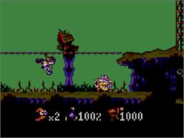 In game image of Earthworm Jim on the Sega Master System.