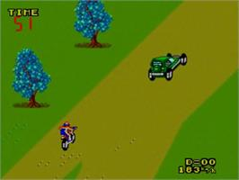 In game image of Enduro Racer on the Sega Master System.