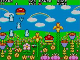 In game image of Fantasy Zone 2 on the Sega Master System.