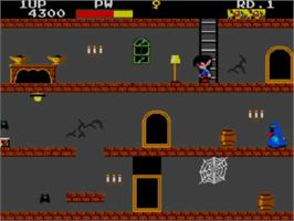 In game image of Ghost House on the Sega Master System.