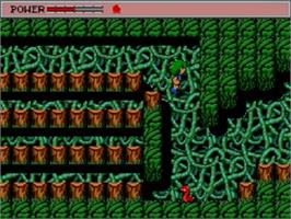 In game image of Golvellius: Valley of Doom on the Sega Master System.