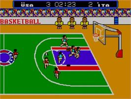 In game image of Great Basketball on the Sega Master System.